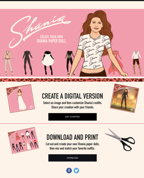 Shania Twain Digital Paper Doll Wyng